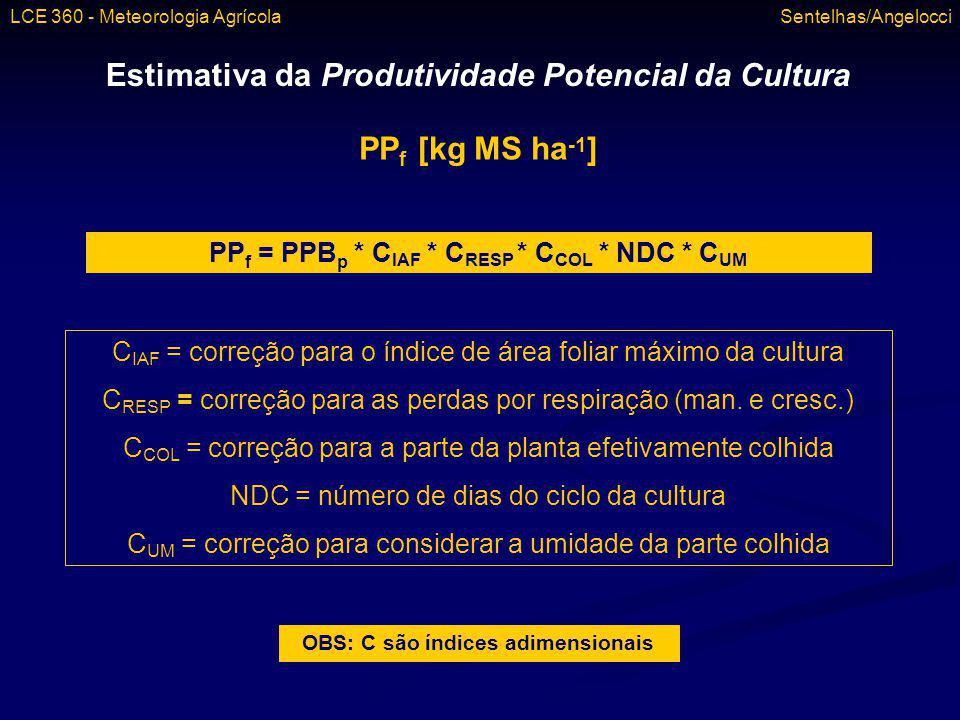 Estimativa da Produtividade Potencial da Cultura PPf [kg MS ha-1]